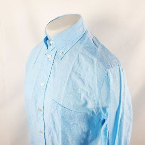 Eton Men Button Front Shirt 15 Medium Blue Striped
